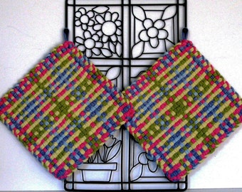 GK's Kitchen - One Pair - Mulit-colored Muted Plaid Potholders.   Item # GK's Kitchen - Fall 00307