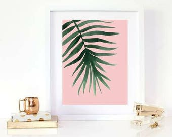 Leafy print with pink background