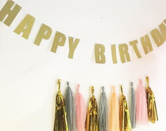 Gold Happy Birthday Banner