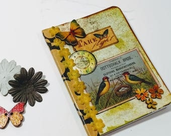 Mini Junk Journal, Vintage Style Notebook, Mini Notebook, Hostess Gift, Pocket Bird Notebook, Unique Pocket Journal, Gifts for Mom