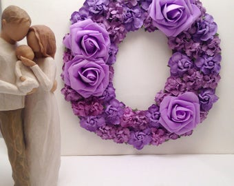 Beautiful 25cm mixed purple letter or number. Baby shower gift, nursery bedroom decor. MDF laser cut wood.