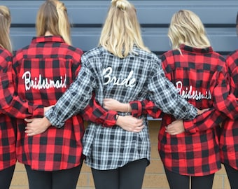 Flannel Bridal Party Dressing Shirts| Bride| Bridesmaid| Wedding Party| Getting Ready| Flannel