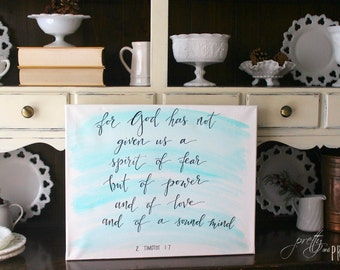 Customized Hand Lettered Bible Verse Canvas