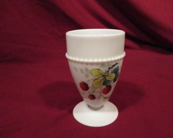 Westmoreland Footed Strawberry Milk Glass Tumbler