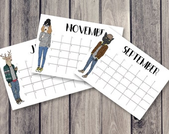 animal calendar, fridge calendar, monthly calendar, monthly planner, desk decal calendar