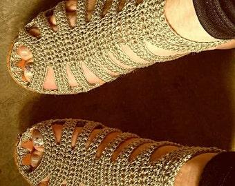 Crochet sandal.