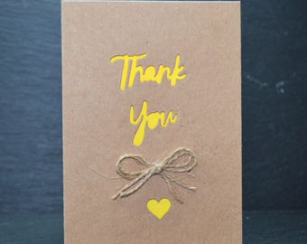 Thank You Heart with Natural Jute String on Brown Card