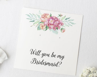 """Will You Be My Bridesmaid Printable Earring Cards, Wedding Proposal Giftwrap - 3""""x3"""" Bridesmaid, Maid of Honor, Flower Girl, Blank Included"""