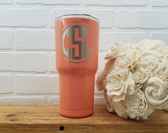 Circle Monogram Tumbler - Vacuum Insulated Cup - Stainless Steel Tumbler - Hot Cold Cup - Personalized Gift - SIC Cup - Engraved Tumbler
