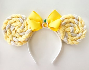 Dole Whip Minnie Mouse Ears Headband | Mickey Ears | Mouse Ears | Headband Minnie Ears | Adventureland  Pineapple Ears | Park Food