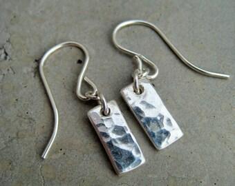 Fine silver petite earrings, hammered earrings, dangly earrings, sterling silver earrings, dainty earrings, art clay silver, SoYou Jewellery