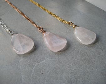 Rose quartz necklace, natural rose quartz necklace, rose quartz pendant necklace, silver necklace, gold necklace, rose gold necklace