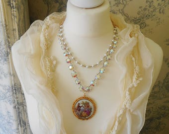 VINTAGE CRYSTAL 2 Row NECKLACE Limoges Pendant Assemblage