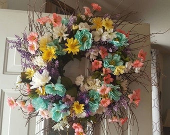 Spring summer flower wreath
