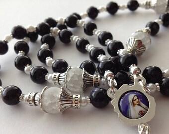 Dark Blue Gemstone Bead Rosary, Immaculate Heart of Mary Rosary, Navy Blue Bead Catholic Rosary, Large Rosary, 5 Decade Rosary