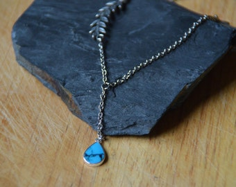Stainless Steel Chain Necklace with Sterling Silver Leaf and Genuine Turquoise Drop Pendant