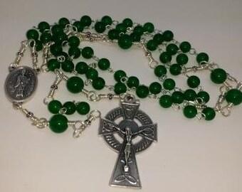 St Patrick St Brigid Celtic Green Jade Rosary