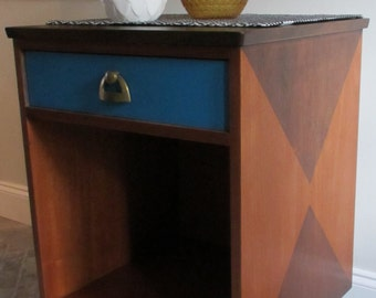 SOLD ** Vintage MCM Mid Century Modern Nightstand End Side Table Geometric Cube w/ Drawer Two-Tone Stain Teal Brass Gold