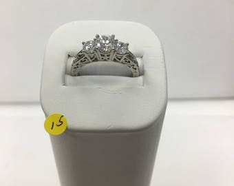 Cubic zirconia and metal alloy ring