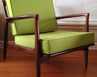 Maharam cushions for Ib Kofod Larsen and Z chairs / Selig Danish modern mid-century MCM green