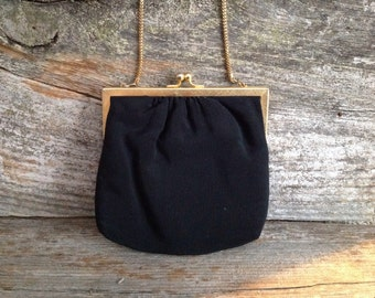 Vintage Du-Val Black Elegant Evening Bag Clutch Purse Wedding Party Special Occasion