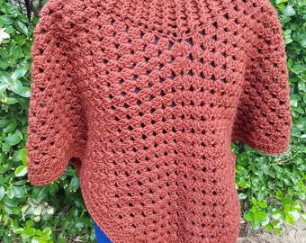 Woolspun Crocheted Wearable Poncho rust color - New Lower Price