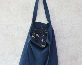 Linen blue bag, linen eco bag, linen tote bag, linen tote bag blue,linen tote bag