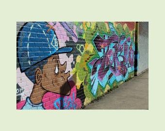 Graffiti Comic Brooklyn Street Art Photography, New York Street Style Postcard, Photo Greeting Card