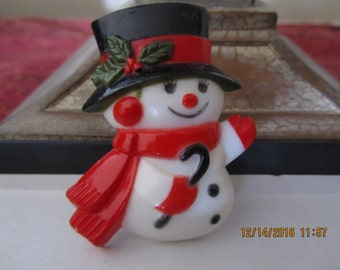 Vintage CHRISTMAS SNOWMAN BROOCH, Vintage Costume Jewelry