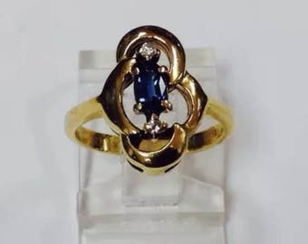 Handcrafted ,14k gold,sapphires ,diamonds,engagement  ring.size4.