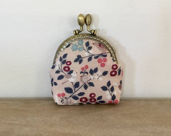 PASTEL birds purse retro clasp, accessories women, fabric pink pastel romantic, nature