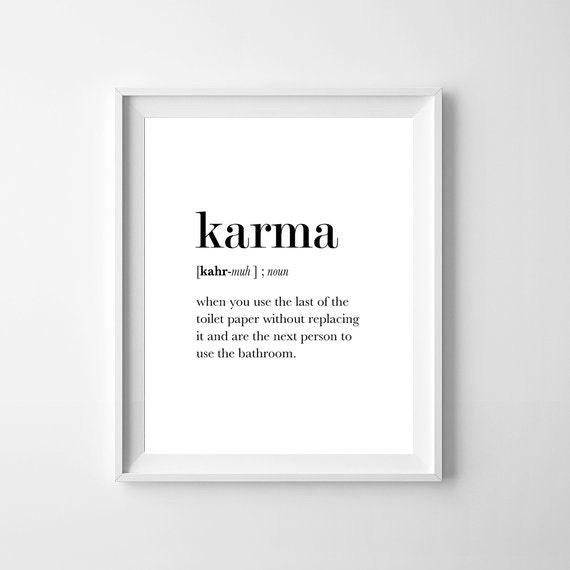 Definition karma funny bathroom art karma wall art affiche - Funny bathroom wall decor ...