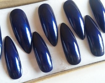 Dark Blue Long Stiletto Press On Glue On Artificial Nails | Set of 20 | Hand-Painted, Coated with Gel Top Coat | No. 129G