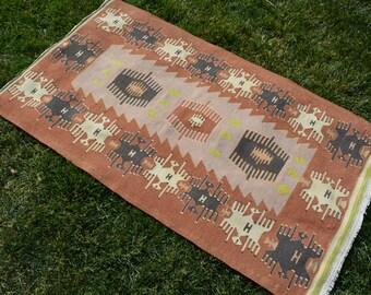 FREE SHİPPİNG ! Oushak Rug,3'1''x5'4''Feet,94x161cmTribal Rug,Vintage Turkish Old Kilim,Vintage Kilim,Ottoman Design Rug,Organic Kilim
