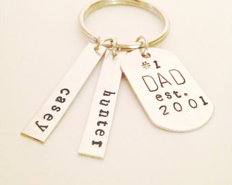 Personalized Dad Keychain, Fathers Day Gift, Father Day Gift For Grandpa, Fathers Day Keychain, New Dad Gift, Dad Keychain, Hand Stamped Key