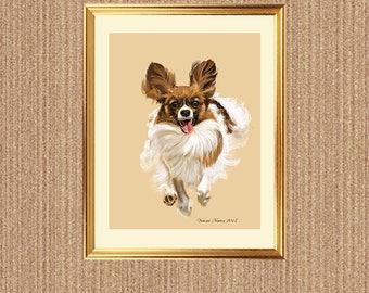 Papillon, Instant Art Download, Wall Art, Greeting Card,Dog Art,digital download,digital art download, Papillon Art