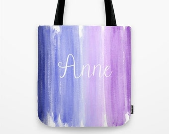 Personalized Bridesmaid Gift Set, Bridesmaid Tote Bag Personalized, Coral Wedding Purple, Watercolor Wedding Bags For Bridesmaids