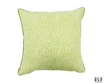 One 18-inch Spring Green Leopard Print Pillow cover // animal print // modern chair pillow // kimgatesdesigns