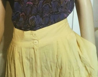 Yellow Vintage High Waist Culottes