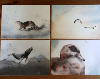 Postcard pack animals in watercolor