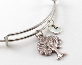 TREE bracelet, silver tree bangle, tree charm, initial bracelet, adjustable bangle, personalized jewelry, swarovski birthstone