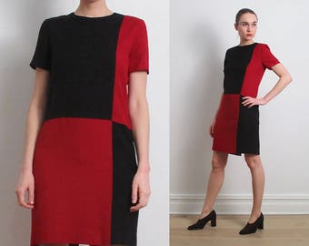 90s Black Red Colorblock Shift Dress / S