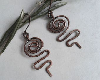 Copper earrings, copper wire, copper, wedding anniversary, 7 year