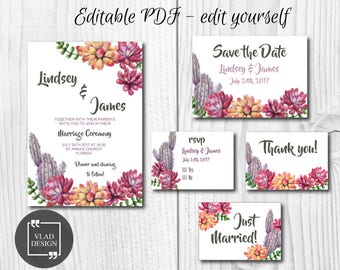 Editable Succulents Wedding Invitation Set Watercolor wedding invite Save the Date RSVP Thank you card Printable invitation wedding template