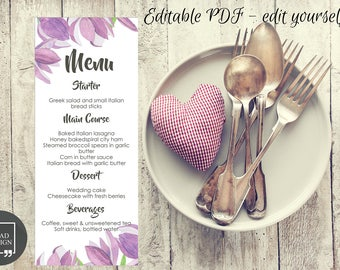 Editable Floral Wedding Menu, Wedding Menu Template, Floral Wedding Menu Card, Wedding Menu Printable, Editable PDF, Personalize at home