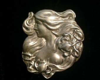 """Vintage Art Nouveau Inspired Pin Fine Pewter Designer Signed   Lady Long Flowing Hair """"h"""" Art Nouveau Inspired Pin Tulips  Leaves Swirls"""