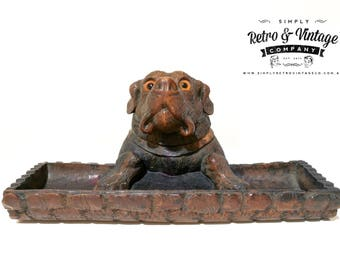 Antique Hand Carved Black Forest Bulldog Inkwell with tray Circa 1880