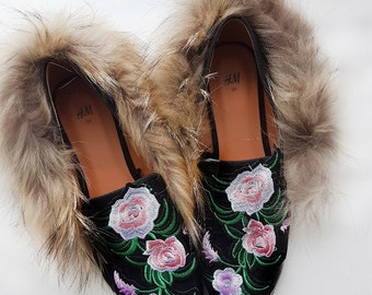 LOAFERS WITH FLOWERS (roses) with/out fur