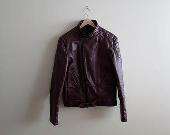 Vintage maroon leather biker jacket, maroon motorcycle jacket, 80s biker jackets, 80s leather jacket, red leather, rare motorcycle jacket