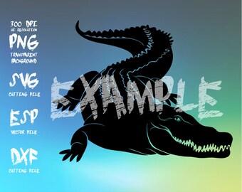 Crocodile Silhouette,clipart,SVG,PNG 300dpi ,ESP vector